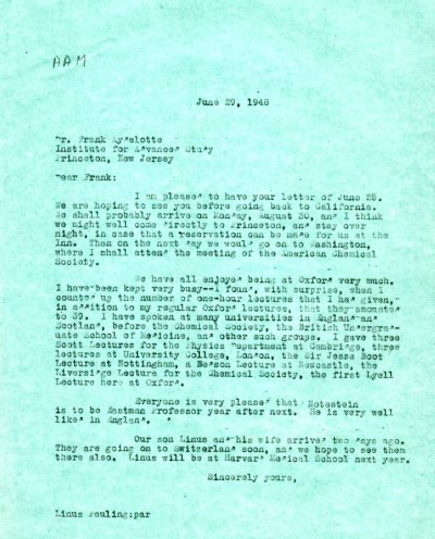 Letter from Linus Pauling to Frank Aydelotte. Page 1. June 29, 1948