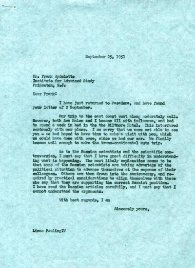 Letter from Linus Pauling to Frank Aydelotte.Page 1. September 25, 1951