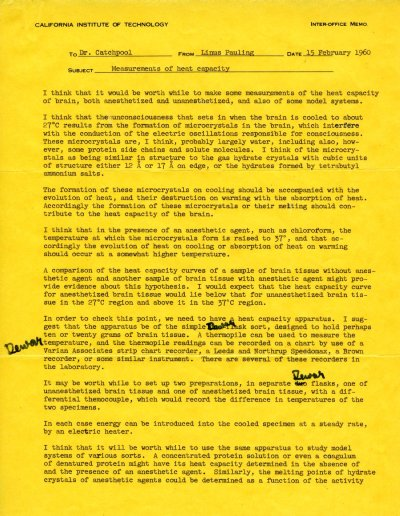 Memorandum from Linus Pauling to Frank Catchpool. Page 1. February 15, 1960