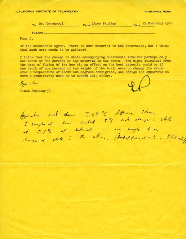 Memorandum from Linus Pauling to Frank Catchpool. Page 2. February 15, 1960