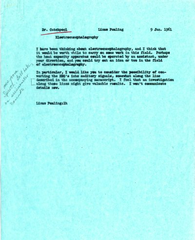 Memorandum from Linus Pauling to Frank Catchpool. Page 1. January 9, 1961