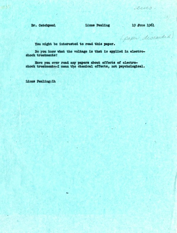 Memorandum from Linus Pauling to Frank Catchpool. Page 1. June 19, 1961