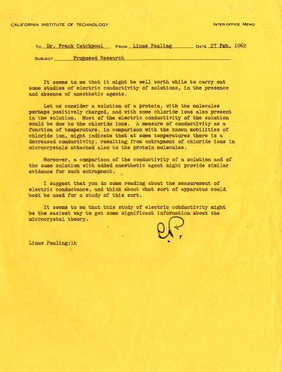 Memorandum from Linus Pauling to Frank Catchpool. Page 1. February 27, 1962