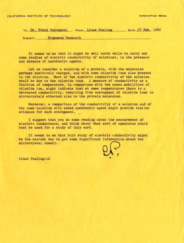 Memorandum from Linus Pauling to Frank Catchpool.Page 1. February 27, 1962