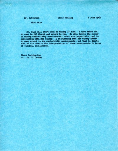Letter from Linus Pauling to Frank Catchpool. Page 1. June 6, 1963