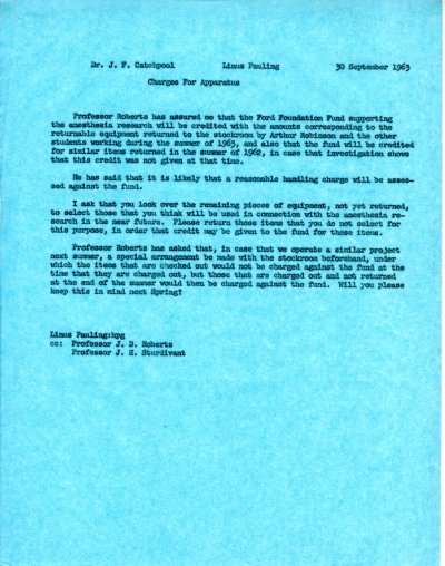 Memo from Linus Pauling to Frank Catchpool. Page 1. September 30, 1963