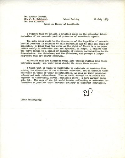 Memo from Linus Pauling to Arthur Cherkin, Frank Catchpool, and Gustav Albrecht. Page 1. July 26, 1963