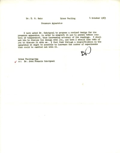 Memo from Linus Pauling to T. R. Sato. Page 1. October 4, 1963