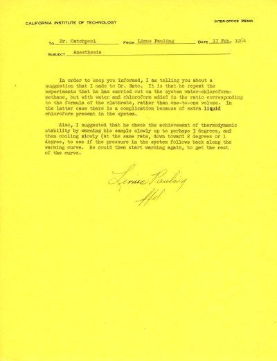 Memo from Linus Pauling to Frank Catchpool. Page 1. February 17, 1964