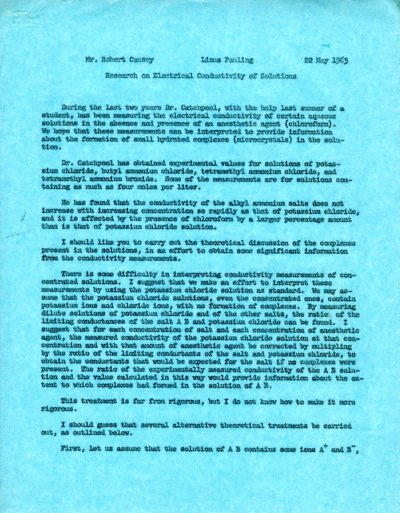 Letter from Linus Pauling to Robert Causey.Page 1. May 22, 1963