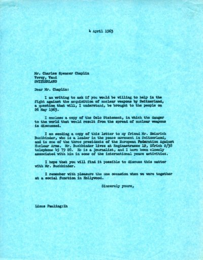 Letter from Linus Pauling to Charles Spencer Chaplin.Page 1. April 4, 1963