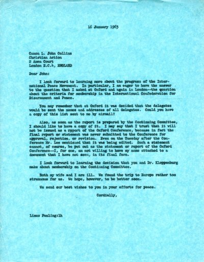 Letter from Linus Pauling to L. John Collins.Page 1. January 16, 1963
