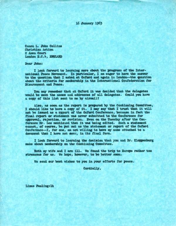 Letter from Linus Pauling to L. John Collins. Page 1. January 16, 1963