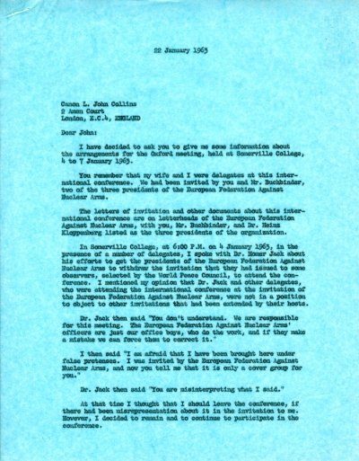 Letter from Linus Pauling to L. John Collins.Page 1. January 22, 1963
