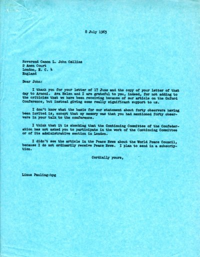 Letter from Linus Pauling to L. John Collins. Page 1. July 8, 1963
