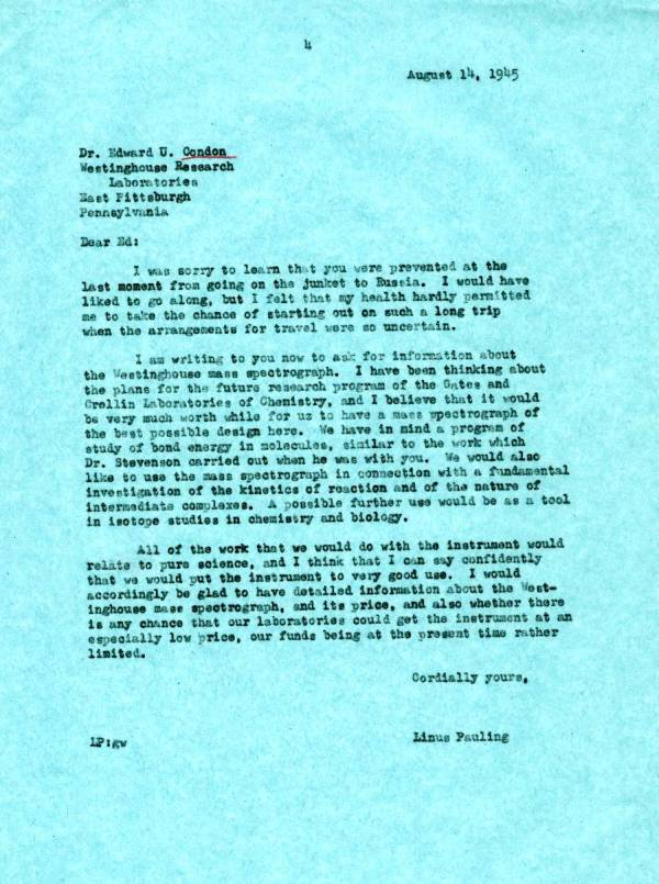Letter from Linus Pauling to Edward Condon. Page 1. August 14, 1945