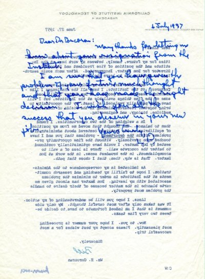 Letter from Linus Pauling to William H. Corcoran. Page 1. July 6, 1957
