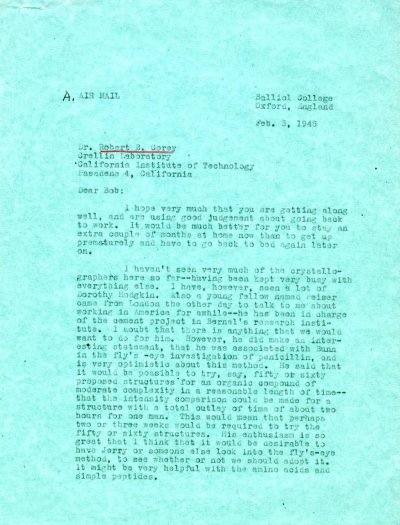 Letter from Linus Pauling to Robert Corey. Page 1. February 3, 1948