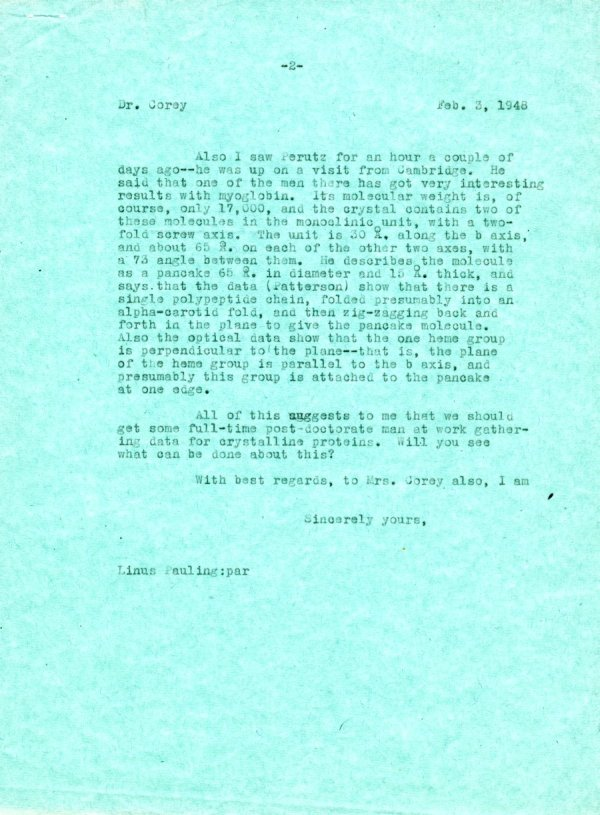 Letter from Linus Pauling to Robert Corey. Page 2. February 3, 1948