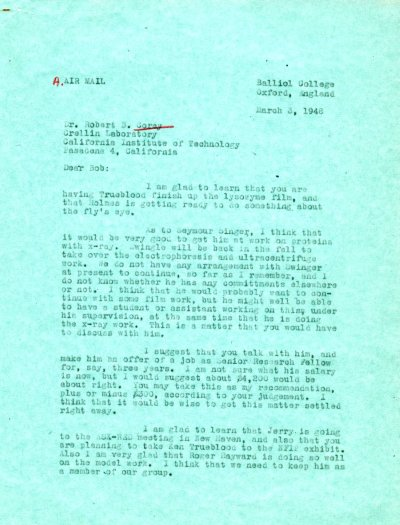 Letter from Linus Pauling to Robert Corey. Page 1. March 3, 1948