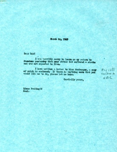 Letter from Linus Pauling to Robert Corey. Page 1. March 24, 1949