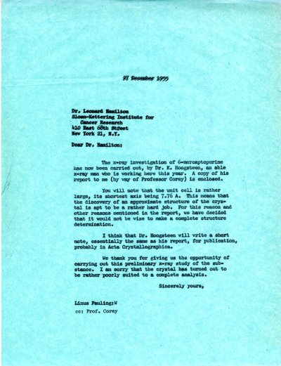 Letter from Linus Pauling to Leonard Hamilton. Page 1. December 27, 1955