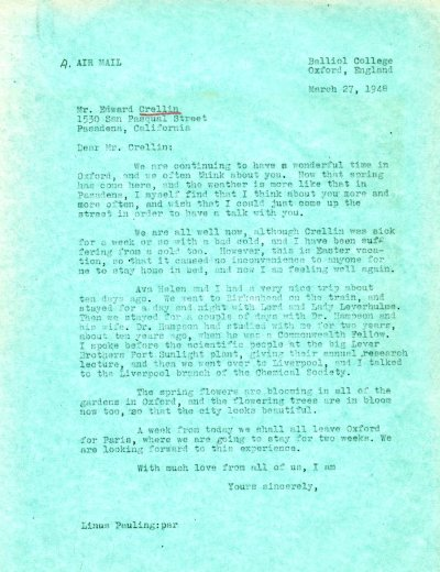 Letter from Linus Pauling to Edward Crellin. Page 1. March 27, 1948