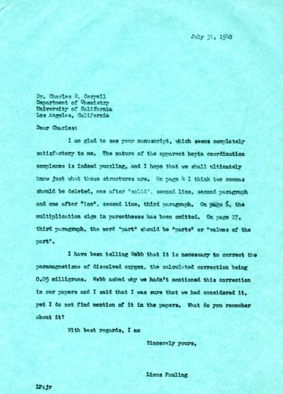 Letter from Linus Pauling to Charles Coryell. Page 1. July 31, 1940