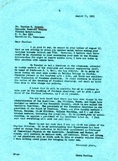 Letter from Linus Pauling to Charles Coryell. Page 1. August 24, 1945