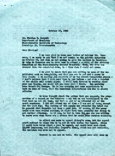 Letter from Linus Pauling to Charles Coryell.Page 1. October 17, 1950