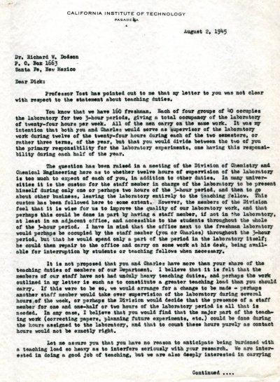 Letter from Linus Pauling to Richard Dodson. Page 1. August 2, 1945