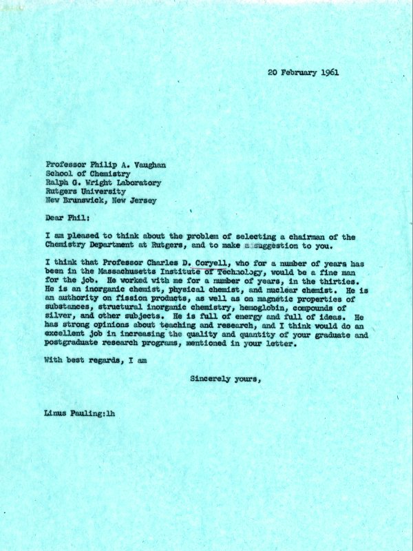 Letter from Linus Pauling to Philip A. Vaughan. Page 1. February 20, 1961