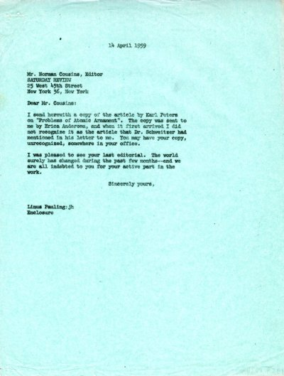 Letter from Linus Pauling to Norman Cousins. Page 1. April 14, 1959