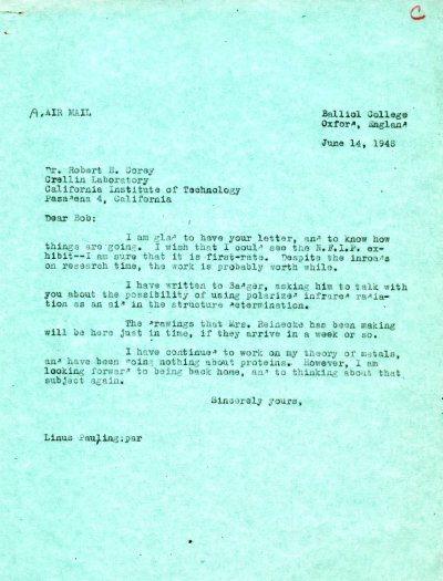 Letter from Linus Pauling to Robert Corey. Page 1. June 14, 1948