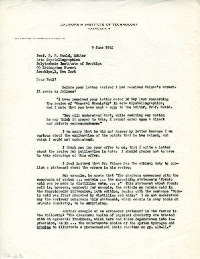 Letter from Linus Pauling to Paul Ewald.Page 1. June 9, 1954