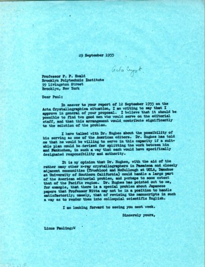 Letter from Linus Pauling to Paul Ewald Page 1. September 29, 1955