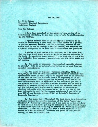 Letter from Linus Pauling to W.G. Palmer.Page 1. May 18, 1954