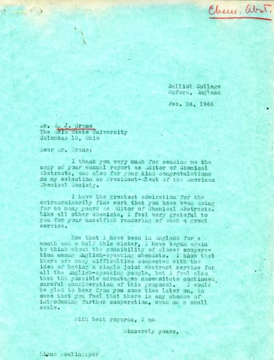 Letter from Linus Pauling to E.J. Crane. Page 1. February 24, 1948