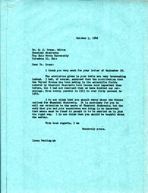 Letter from Linus Pauling to E.J. Crane. Page 1. October 5, 1948