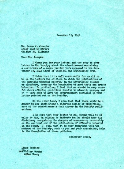Letter from Linus Pauling to Jesse Josephs. Page 1. November 15, 1948