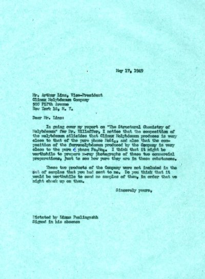 Letter from Linus Pauling to Arthur Linz. Page 1. May 17, 1949