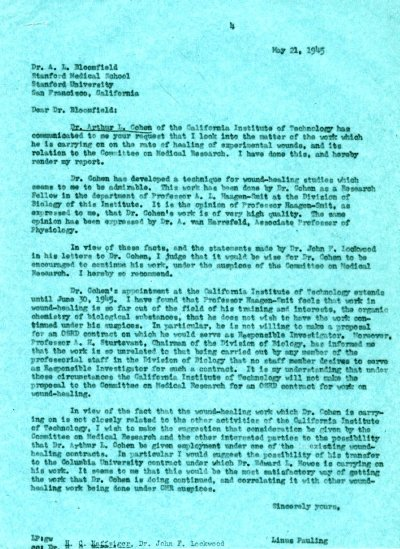 Letter from Linus Pauling to A.L. Bloomfield.Page 1. May 21, 1945
