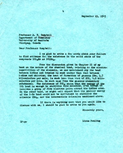 Letter from Linus Pauling to A. N. Campbell. Page 1. September 19, 1945