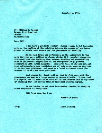 Letter from Linus Pauling to William Castle. Page 1. November 6, 1946