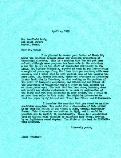 Letter from Linus Pauling to Archibald Craig. Page 1. April 4, 1949