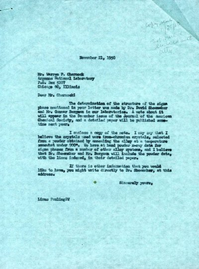 Letter from Linus Pauling to Warren Chernock.Page 1. November 21, 1950