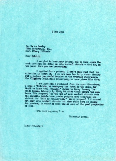 Letter from Linus Pauling to R.A. Cooley.Page 1. May 7, 1953