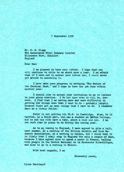 Letter from Linus Pauling to D.B. Clapp. Page 1. September 7, 1956