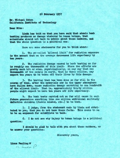 Letter from Linus Pauling to Michael Cohen. Page 1. February 28, 1957