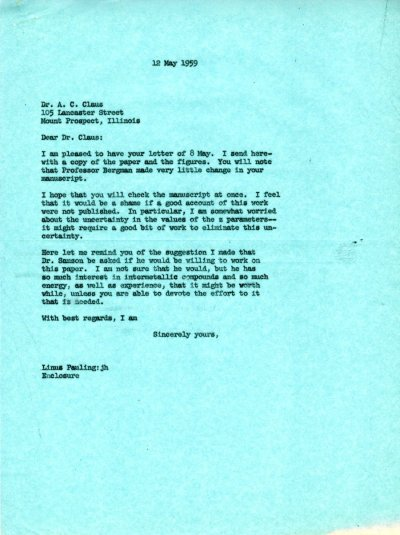 Letter from Linus Pauling to A.C. Claus. Page 1. May 12, 1959